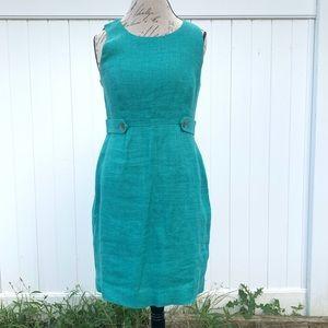 J crew linen teal dress